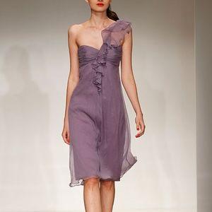 Amsale One Shoulder Chiffon Dress